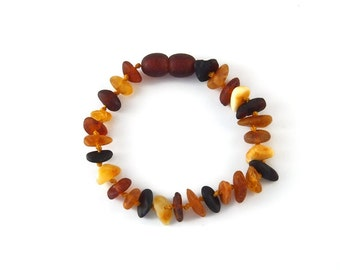 Baltic Amber Bracelet Toddler Baby Teething Child - Rounded Sides Unpolished Butter Lemon Cognac Cherry Honey