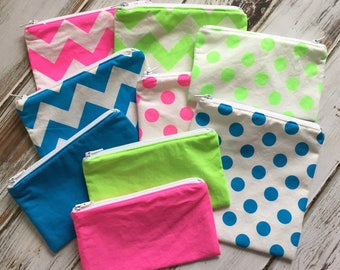 Clearance - Neon Sandwich or Snack Bags (Optional Personalization) with Zipper Closure