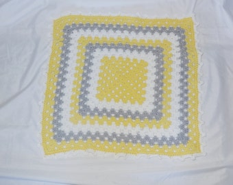 Sale Crochet Baby Blanket - 25% Off Sale - Crochet Granny Square Blanket for Baby in Yellow, Grey and White - Ready to Ship