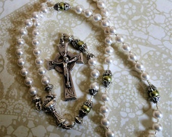Girls First Communion Irish Rosary-Irish/Celtic Girl -Swarovski Pearls, Celtic Cross, Chalice Center-Sold by Lily of Peace on Etsy