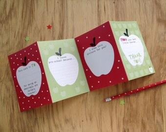 Concertina Nursery Or Pre School Teacher Thank You Card. Card For Nursery Teacher. Thank You Nursery Teacher. Cute Apple Thank You Card.