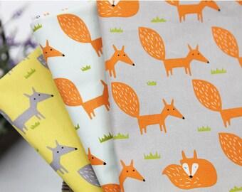 Fox Fabric, Fox Oxford Cotton Fabric, Animal Print Fabric - Gray, Mint Sky or Yellow - By the Yard 92942