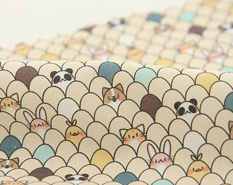 Animals Cotton Fabric, Beige Cotton Fabric, Digital Printing - Fabric By the Yard 96416