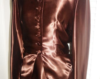 Vintage 40s Brown Satin Glamour Two Piece Suit Dress Saks Fifth Ave