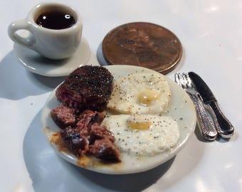 Dollhouse steak and eggs