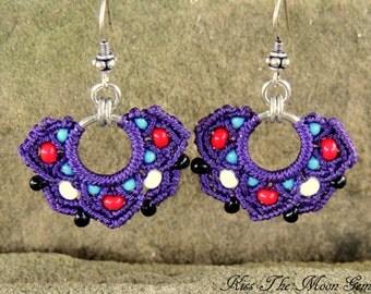 Boho Macrame Half-Flower Earrings - Purple and Seed Beads