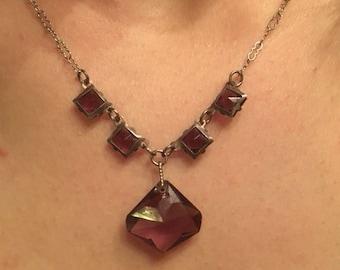 Vintage Circa 1930 Purple Czech Glass Necklace