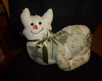 Vintage Patchwork Quilt Kitty with Green Satin Ribbon Bow