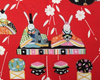 Bunny Hina-Doll Fabric by Alexander Henry Fabrics - Red - Fat Quarter