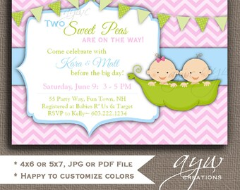 twins baby shower invitation peas in a pod twins invitation peapod invitations printable invitation chevron printable
