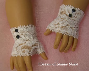 FINGERLESS LACE GLOVES (shorter version) with Black buttons for American Girl Dolls for Caroline, Regency, Elizabeth