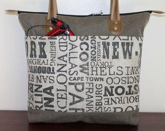 Army n Capital Zipper Shoulder Everyday Tote Bag