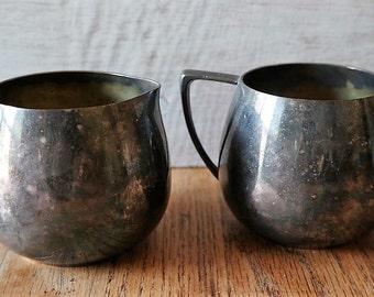 Empire Craft Quadruple Plate Silver Creamer and Sugar Duo