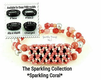 Bracelet For FitBit FLEX, FLEX2, ALTA, AltaHr or Charge2! *Sparkling Coral* Silver, Stretch, Replacement Band, Free Resizing!*