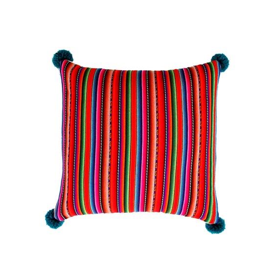 Pillow COVER,  Peruvian textile, multi colored, striped, red, pom poms