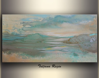 Abstract Landscape, Original Painting, Modern Art, ORIGINAL Art painting, Oil painting, Blue, Teal, Mountain, Abstract painting, by Tatjana