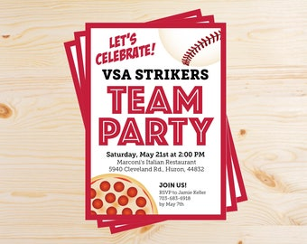 Editable Baseball Team Pizza Party Invitations - INSTANT DOWNLOAD PRINTABLE - Red and Black