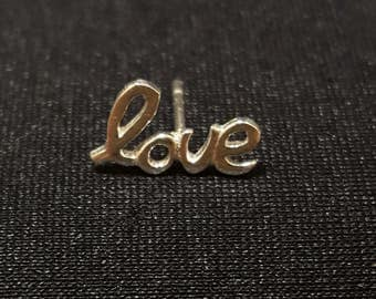 LOVE stud earring-- sterling silver