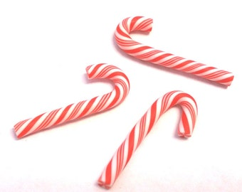 10pc 25x7mm Polymer Clay Mini Candy Cane Findings-7227R