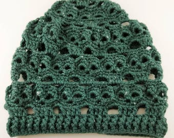 Forest Green Crocheted Skulls Slouchy Beanie - READY TO SHIP