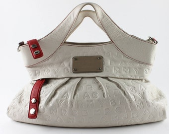 Leather Handbag - Marc Jacobs - Red and White Embossed Leather