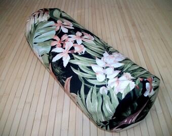 "Tropical Print Bolster Pillow. Meditation Prop. Home Decor Pillow. UNFILLED insert, and Cover. Zippered. 15"" x 5"". USA made"