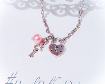 Heart Key Necklace Silver Lock Key Pearl Pendant