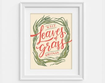Walt Whitman poster - Leaves of Grass poster - literary print (12,60 x 18,10)