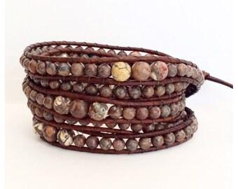 Beaded Leather Wrap Bracelet - Leopard Jasper stones on distressed brown Leather - Boho Chic
