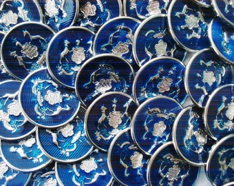 Vintage Military Buttons - 50 Blue Enamel Buttons - 50 Metal Military Crest Buttons - Enamel and Metal Buttons - Royal Blue Enamel Buttons