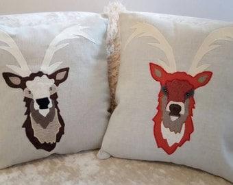 """Stag Head Cushion Pillow Stag Portrait Animal Doe 18""""x18"""" 45x45cm Bye Brytshi"""