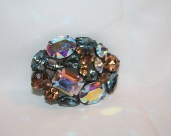 Vintage Chunky Brooch  Blue AB Amber  Rhinestone Pendant 1950s Jewelry