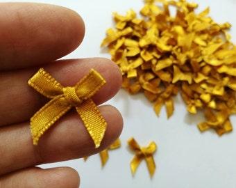 Dark GOLD mini satin bows - Tiny Appliques - 4mm miniature 100 bows
