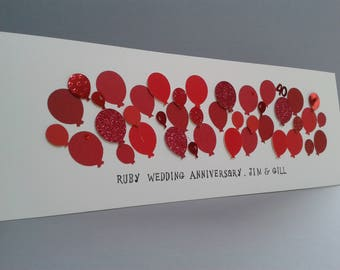 Large 40th Balloon Ruby Wedding Anniversary Card, Front text can be personalised.