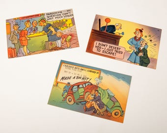 3 Humorous  Postcards from Florida - River View Park - Jacksonville  1950's - Unused - Bright Colors