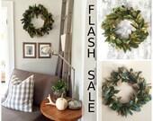 FLASH SALE - Magnolia Wreath, Home Decor, Farmhouse Wreath, Fall Wreath, Christmas Wreath, Magnolia, Artificial Magnolia Wreath, Rustic