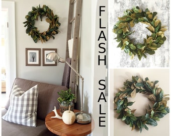 FLASH SALE - Magnolia Wreath, Home Decor, Farmhouse Wreath, Fall Wreath, Christmas Wreath, Magnolia, Artificial Magnolia Wreath, Rustic