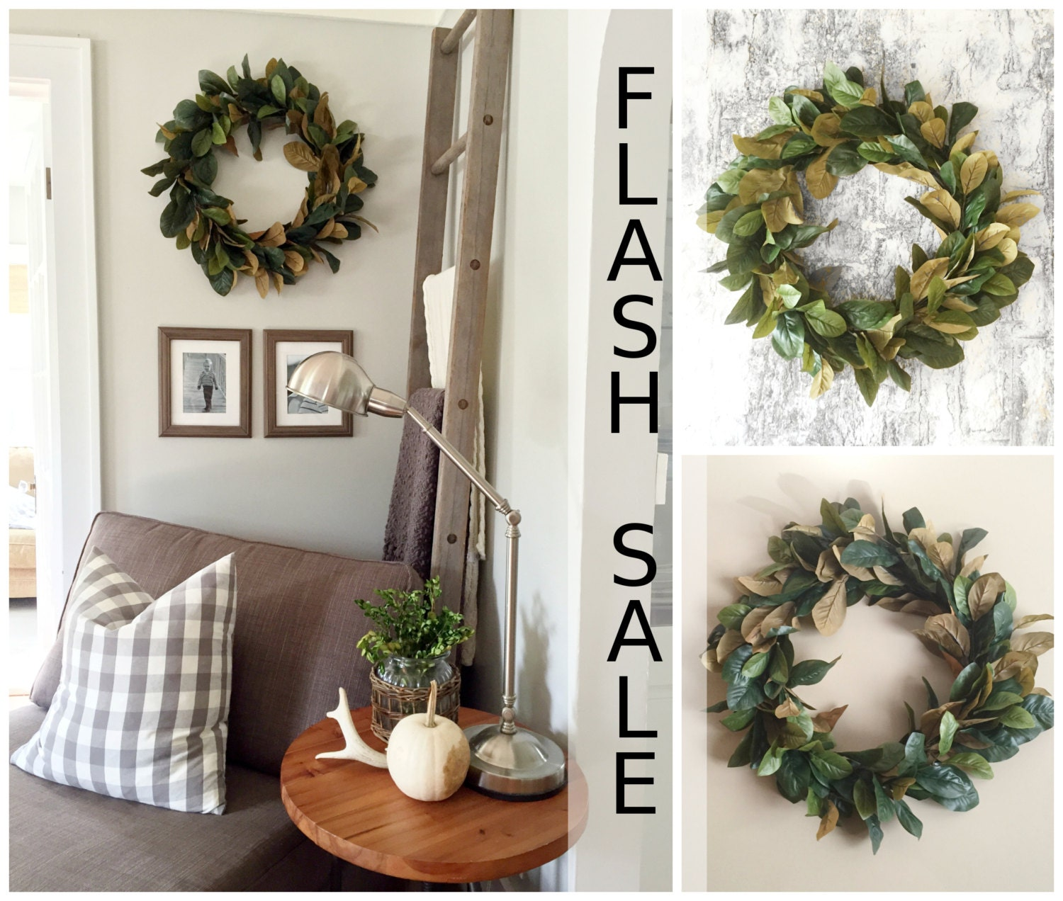 Flash sale magnolia wreath home decor farmhouse wreath for Home decor items on sale