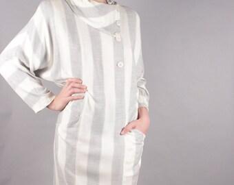 Neiman Marcus Gray Ivory Striped Linen Shirt Dress w Asymmetrical  Neckline