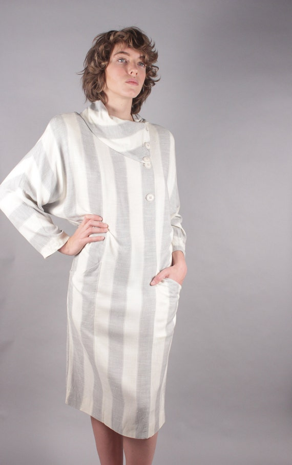 Neiman Marcus Gray Ivory Striped Linen Shirt Dress w Asymmetrical  Neckline