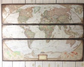 RESERVE World Map. Large National Geographic Map 45 x 30. Farmhouse Map. Rustic Decor
