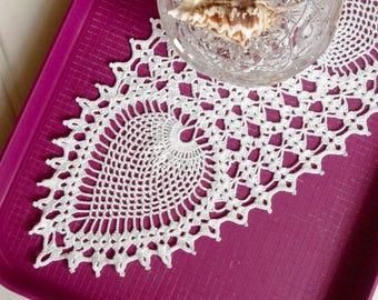 Crochet table runner White pineapple crochet doily Lace runner Crochet tablecloth Table decorations Cotton decor Oval crochet doily 335