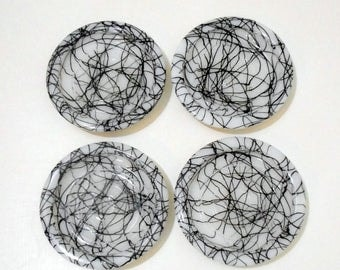 1950s Atomic Milk Glass Coaster Set / Black and White String Paint / Hazel Atlas Drizzle Midnight Magic