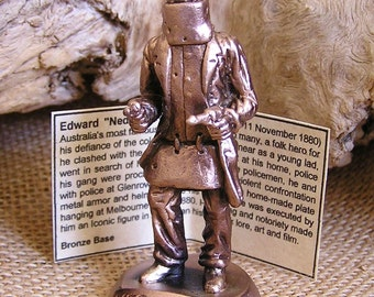 Solid Bronze Ned Kelly on Bronze Base.... 100% handmade in Australia