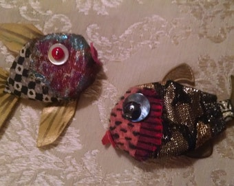 Two Fishes Fabric Art Pins/ Fish Brooches