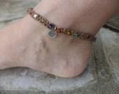 Ohm Anklet Om Ankle Bracelet Zen Anklet Zen Jewelry Yoga Anklet Yoga Jewelry Macrame Anklet Macrame Jewelry Adjustable Anklet