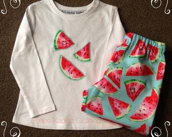 Girls winter cotton/flannelette watermelon pyjamas Sizes 1 to 7