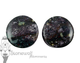 Bloodstone 24mm Stone Plugs for Stretched Ears Piercings Handmade - Ready to Ship