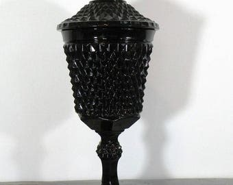 Black Glass Apothecary Jar, Vintage 1977, Tall and Elegant, Tiara Exclusive Cameo Black Chalice with Cover #10300 by Indiana Glass - SD