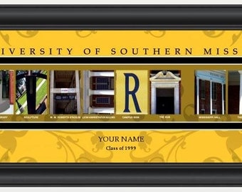 PERSONALIZED & FRAMED NCAA Southern Miss Golden Eagles Letter Art Sports Prints